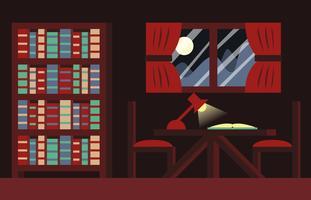 Vettore dell'illustrazione del fondo della stanza dei libri di libro