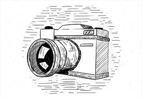 Illustrazione disegnata a mano libera della macchina fotografica di vettore