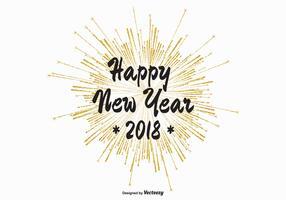 2018 fuochi d'artificio dell'oro isolati su priorità bassa bianca