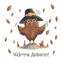Gufo sveglio con il vettore di caduta del cappello e delle foglie di autunno