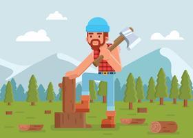 Illustrazione del legname di taglio del taglialegna