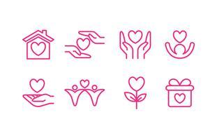 Set di icone di beneficenza vettore