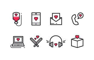 Pacchetto di icone piene di amore e gentilezza vettore