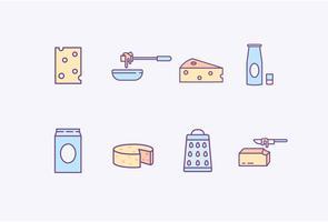 Icone di prodotti lattiero-caseari vettore