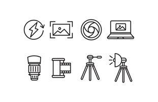 Set di icone di fotografia vettore
