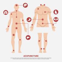 Punto di agopuntura nell'illustrazione di vettore del corpo dell'uomo