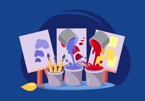 Dipinga il vaso e il vettore di tela