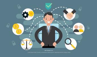 Illustrazione piana di vettore di responsabilità sociale dell'uomo di affari