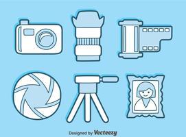 Vettore blu delle icone dell'elemento della macchina fotografica