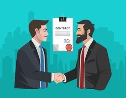 Handshaking dell'uomo con l'illustrazione di integrità