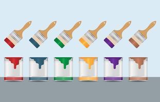 Vettori colorati di vernice e pennello
