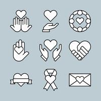 Set di icone di carità stile linea sottile