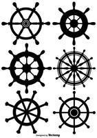 Insieme dell'icona della rotella della nave di vettore
