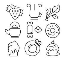 Icone gratuite di tè e dolci vettore