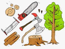 illustrazione disegnata a mano di vettore degli strumenti del taglialegna