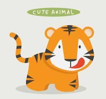 vettore di cartone animato carino tigre