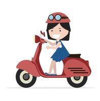 ragazza in sella a una moto rossa design piatto