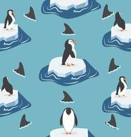 pinguini su iceberg con motivo a squali vettore