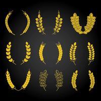 pacco di grano orecchie oro vettore