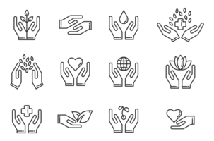 Vettore delle icone delle mani di guarigione