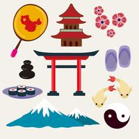 Vettore libero delle icone di viaggio del Giappone