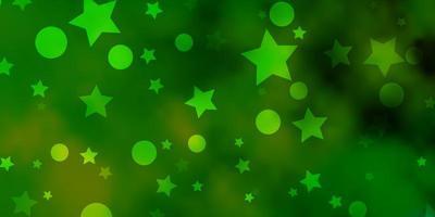 sfondo verde chiaro, giallo con cerchi, stelle.