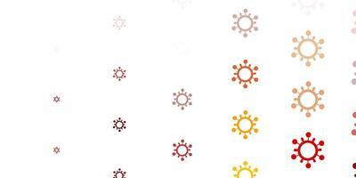 sfondo rosso chiaro, giallo con simboli di virus.