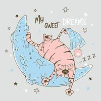 simpatico gatto rosa che dorme dolcemente sulla luna vettore