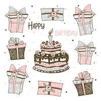 cartolina con torta e regali di compleanno vettore