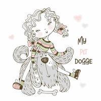 ragazza carina che gioca con il suo cagnolino irsuto amico vettore