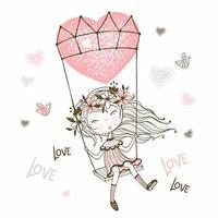 ragazza carina che vola su un palloncino