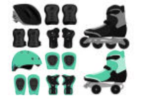 Set di icone di attrezzature Rollerblade vettore