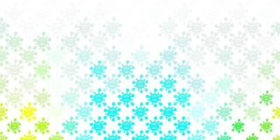 motivo azzurro e verde con elementi di coronavirus.