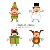 Stile disegnato a mano sveglio della raccolta del costume di Natale