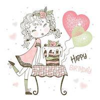carta di compleanno con ragazza con torta e palloncini