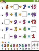 pagina del foglio di lavoro educativo di calcolo matematico per bambini vettore