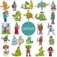 grande set di personaggi di fantasia e fiaba comica