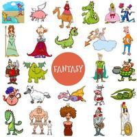 grande set di personaggi di fantasia e fiaba dei cartoni animati