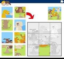 gioco di puzzle con personaggi di cani comici