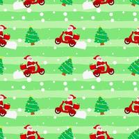 natale carino babbo natale albero moto consegna confezione regalo modello verde per carta da imballaggio