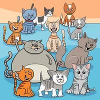cartone animato di gruppo di gatti felici vettore