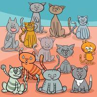 cartone animato di gruppo di gatti divertenti vettore
