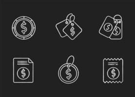 cartellini dei prezzi gesso bianco set di icone