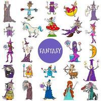grande set di personaggi fantasy comici vettore