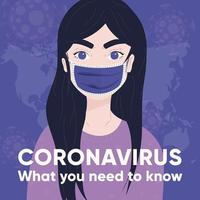 poster del coronavirus 2019-ncov con una giovane ragazza
