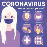 infografica per il coronavirus 2019-ncov con una giovane ragazza