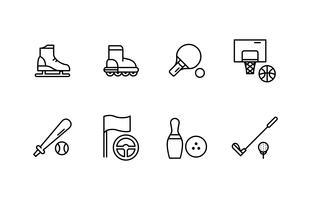 Pacchetto di icone di linea di attrezzature sportive vettore