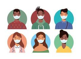 diversità persone personaggi che indossano maschere facciali vettore