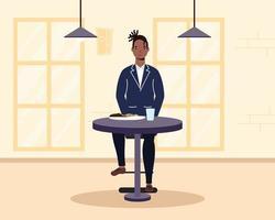 giovane uomo seduto in un ristorante vettore