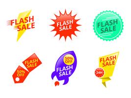 Bagliore e prezzo variopinto Flash Badge Vector